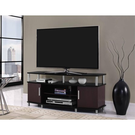 """Glass Shelves Tv Stands For Tvs Up To 65"""" In Best And Newest Carson Tv Stand, For Tvs Up To 50"""", Multiple Finishes (View 5 of 10)"""