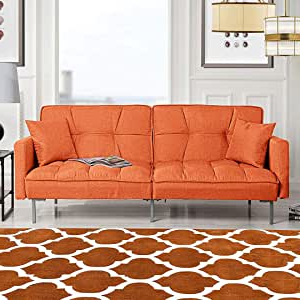 Hartford Storage Sectional Futon Sofas With Most Current Amazon: Orange Sleeper Futon Sofa Bed Couch (View 7 of 10)