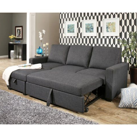 Hudson Fabric Reversible Storage Sectional With Pullout Throughout Well Known Live It Cozy Sectional Sofa Beds With Storage (View 8 of 10)