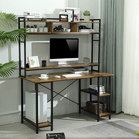 Industrial Tv Stands With Metal Legs Rustic Brown Pertaining To 2018 Amazon: Tribesigns 55 Inches Large Computer Desk With (View 6 of 10)