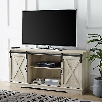 """Jaxpety 58"""" Farmhouse Sliding Barn Door Tv Stands In Rustic Gray In Latest Rustic Tv Stand With Barn Doors – My Hobby (View 7 of 10)"""
