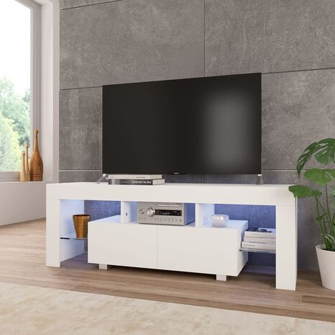 Ktaxon Modern High Gloss Tv Stands With Led Drawer And Shelves For Most Up To Date Best Price White Gloss Tv Unit (View 4 of 10)