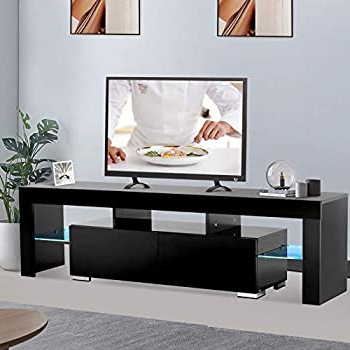 Ktaxon Modern High Gloss Tv Stands With Led Drawer And Shelves For Recent Amazon: Mecor Modern White Tv Stand With Led Light (View 1 of 10)