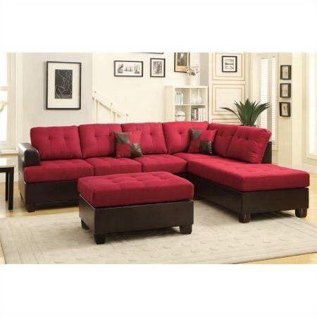 Latest 3pc Faux Leather Sectional Sofas Brown Pertaining To Red Upholstered Button Tufted Faux Leather Reversible (View 3 of 10)