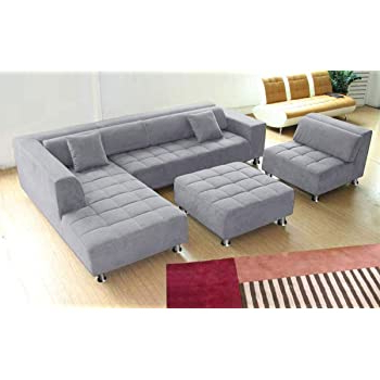 Latest Amazon: 3pc Contemporary Grey Microfiber Fabric With 4pc Beckett Contemporary Sectional Sofas And Ottoman Sets (View 5 of 10)