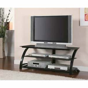 Latest Coaster Company Black Metal Tempered Glass Tv Stand – 48 With Regard To Tv Stands Fwith Tv Mount Silver/black (View 9 of 10)