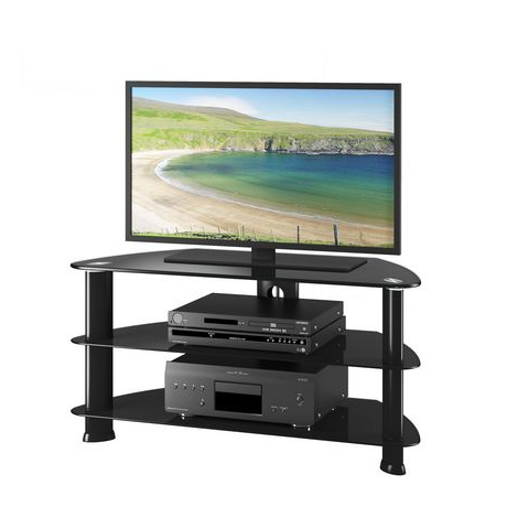 """Latest Corliving Satin Black Glass Tv Stand, For Tvs Up To 43 Inside Allegra Tv Stands For Tvs Up To 50"""" (View 4 of 10)"""