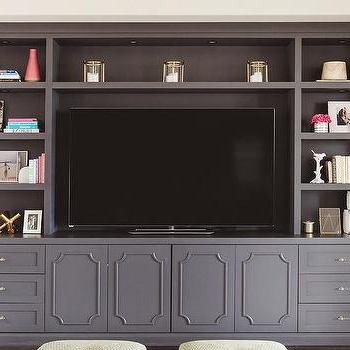 Latest Corona Grey Flat Screen Tv Unit Stands Intended For Gray Built Ins – Transitional – Living Room – Linda (View 7 of 10)