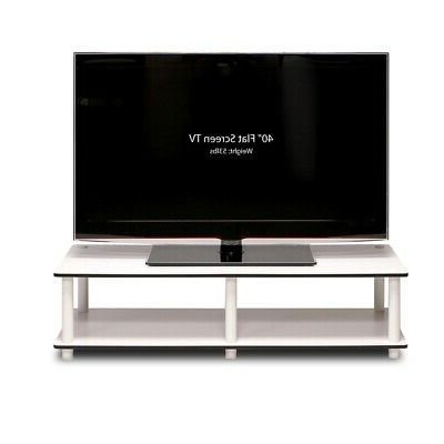 Latest Just No Tools Wide Tv Stand, White Finish W/white Tube With Oliver Wide Tv Stands (View 6 of 10)