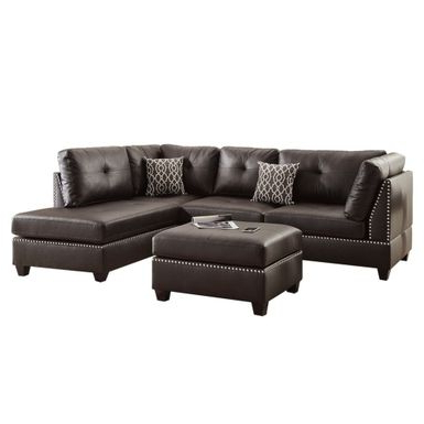 Latest Rent To Own Bobkona Chaise Pine Wood 3 Pcs Reversible For 3pc Bonded Leather Upholstered Wooden Sectional Sofas Brown (View 3 of 10)