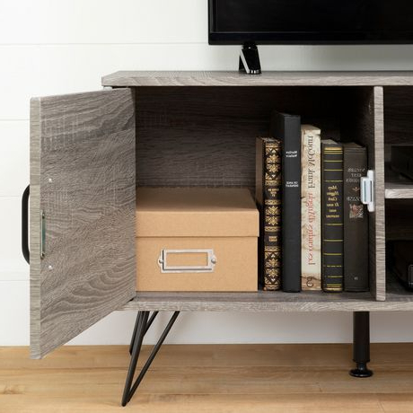Latest South Shore Evane Tv Stands With Doors In Oak Camel With Regard To South Shore Evane Tv Stand With Doors For Tvs Up To  (View 1 of 10)