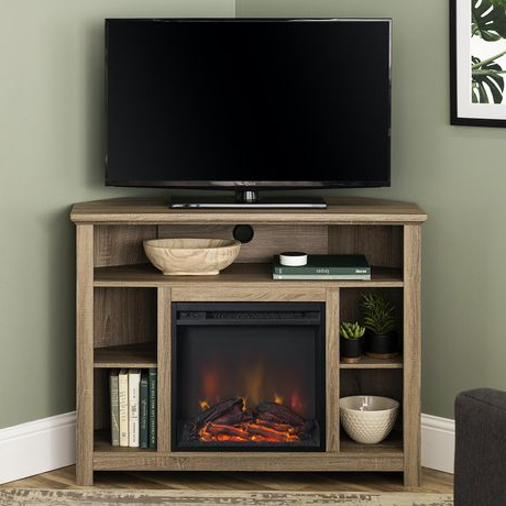Latest Tv Stands With Led Lights In Multiple Finishes Intended For Manor Park Tall Corner Fireplace Tv Stand For Tv's Up To (View 4 of 10)