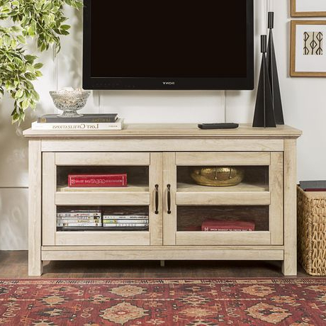 Latest Tv Stands With Led Lights In Multiple Finishes Pertaining To Manor Park Simple Wood Tv Stand For Tv's Up To  (View 6 of 10)