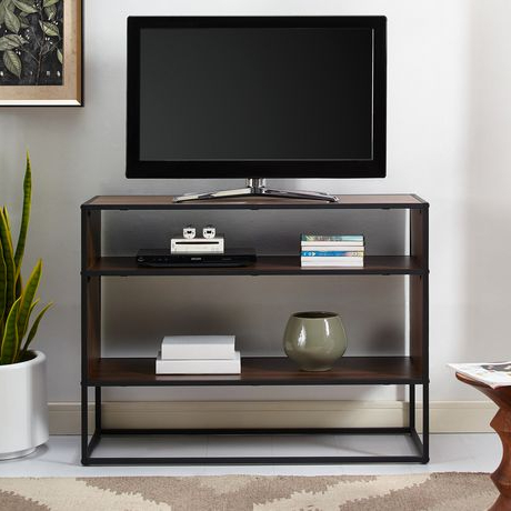 Latest Tv Stands With Led Lights In Multiple Finishes Throughout Manor Park Rustic Urban Industrial Tv Stand For Tv's Up To (View 5 of 10)