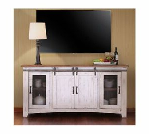 """Latest White Wash Barn Door Tv Stand 70"""" (View 3 of 10)"""