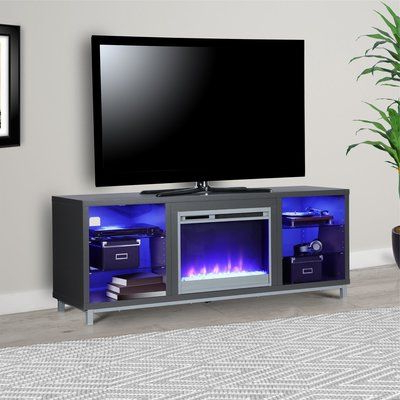 """Latitude Run Ilyse 70"""" Tv Stand With Fireplace Color: Gray In 2017 Mainstays Tv Stands For Tvs With Multiple Colors (View 6 of 10)"""