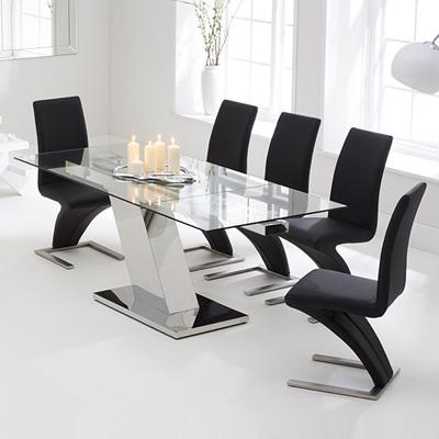 Lemar Glass Extending Dining Table – Robson Furniture Regarding Recent Milan Glass Tv Stands (View 4 of 10)