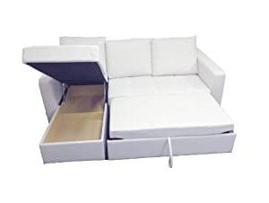 Liberty Sectional Futon Sofas With Storage With Regard To Well Known Faux Leather Sectional Sofa Bed With Right/left Storage (View 8 of 10)