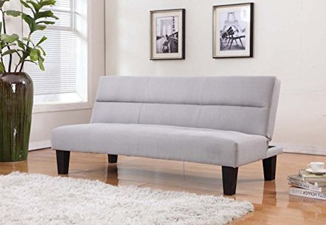 Light Beige Linen With Adjustable Back Klik Klak Sofa Throughout Favorite Debbie Coil Sectional Futon Sofas (View 1 of 10)