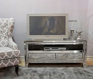 Loren Mirrored Wide Tv Unit Stands Within Most Recent Mirrored Glass Tv Stand Unit Media Storage Shelf Living (View 3 of 10)
