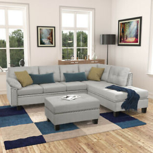 Ludovic Contemporary Sofas Light Gray Pertaining To Most Recently Released Modern Large Grey Fabric L Shape Sectional Sofa With Extra (View 7 of 10)