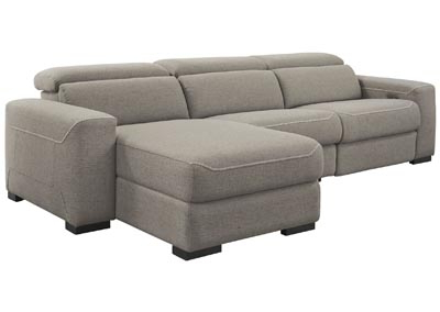 Mabton Gray Right Arm Facing Power Reclining 3 Piece Inside Most Recent 3pc French Seamed Sectional Sofas Velvet Black (View 1 of 10)