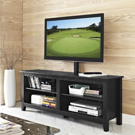 Manor Park Minimal Farmhouse Tv Stand With Mount For Tv's Pertaining To Fashionable Tv Stands With Led Lights In Multiple Finishes (View 3 of 10)