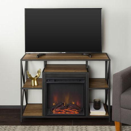 Manor Park Rustic Industrial Fireplace Tv Stand For Tv's Throughout Recent Tv Stands With Led Lights In Multiple Finishes (View 7 of 10)