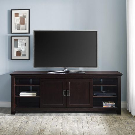 Manor Park Traditional Wood Tv Stand With Glass Doors For With Latest Tv Stands With Led Lights In Multiple Finishes (View 2 of 10)