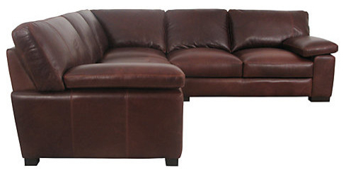 Mattis Leather Corner Unit – Traditional – Sectional Sofas Inside Most Current Bonded Leather All In One Sectional Sofas With Ottoman And 2 Pillows Brown (View 3 of 10)