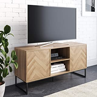 Media Console Cabinet Tv Stands With Hidden Storage Herringbone Pattern Wood Metal Throughout Current Amazon: Wood Tv Stand (View 2 of 10)