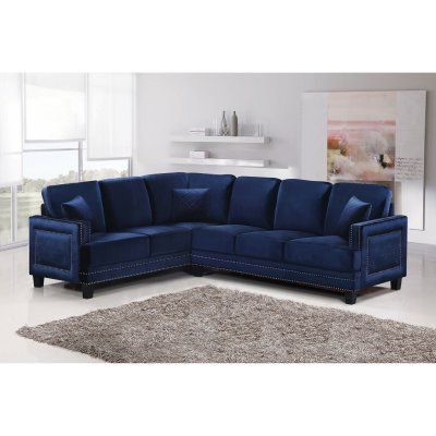 Meridian Furniture Inc Ferrara 2 Piece Sectional Sofa With For Well Liked 3pc Polyfiber Sectional Sofas With Nail Head Trim Blue/gray (View 4 of 10)