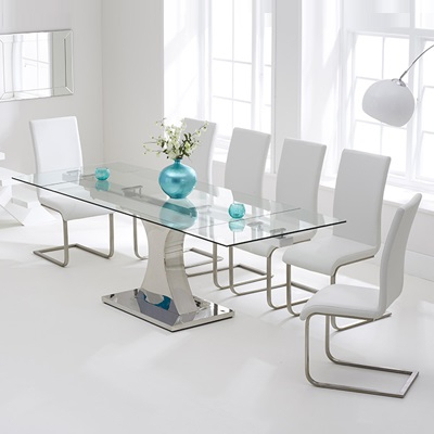 Milan Glass Tv Stands With Regard To Most Recently Released Ambrose Glass Extending Dining Table With 10 Milan Black (View 3 of 10)