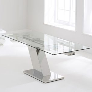 Milan Glass Tv Stands Within Favorite Lemar Glass Extending Dining Table With 6 Milan White (View 2 of 10)