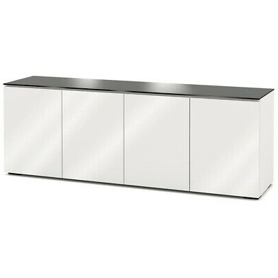 Milan Glass Tv Stands Within Latest Salamander Designs Miami 347 In Gloss White / Black Glass (View 10 of 10)