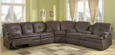 Mireille Modern And Contemporary Fabric Upholstered Sectional Sofas Inside Popular Brown Upgraded Fabric Modern Reclining Sectional Sofa (View 7 of 10)