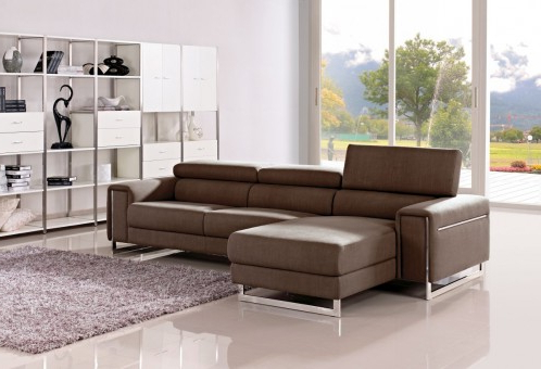 Mireille Modern And Contemporary Fabric Upholstered Sectional Sofas Within Popular 1162b Modern Brown Fabric Sectional Sofa (View 1 of 10)