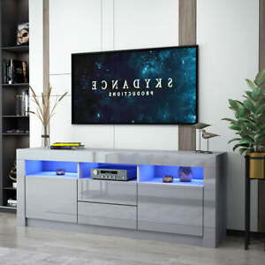 Modern 160cm Tv Unit Cabinet Stand Grey High Gloss Drawers In Most Popular Zimtown Tv Stands With High Gloss Led Lights (View 6 of 10)