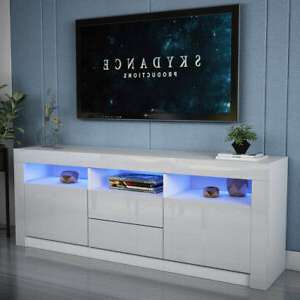 Modern 160cm Tv Unit Cabinet Stand High Gloss Drawers Pertaining To Most Recent Chromium Extra Wide Tv Unit Stands (View 6 of 10)