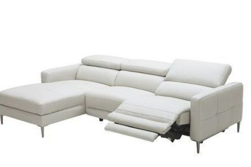 Modern Adjustable Headrests Light Grey Leather Sectional Regarding Trendy 2pc Crowningshield Contemporary Chaise Sofas Light Gray (View 8 of 10)