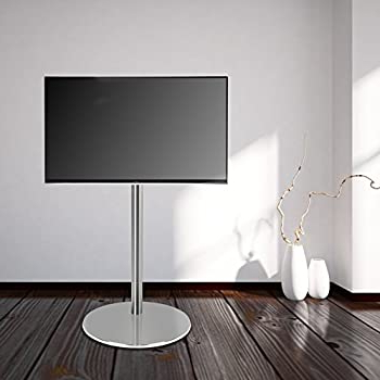 Modern Black Floor Glass Tv Stands With Mount In Recent 'cavus – Fm120/50s – Support Tv Design – Ø 37 Cm Pied Rond (View 5 of 10)