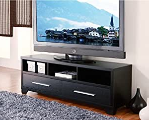 Modern Black Floor Glass Tv Stands With Mount Throughout Current Amazon: Modern 60 Inch Flat Screen Tv Stand In Black (View 9 of 10)