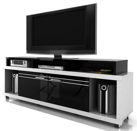 Modern Black Tv Stands On Wheels With Regard To Widely Used Modloft Function Milano Tv Stand Entertainment Center Up (View 4 of 10)
