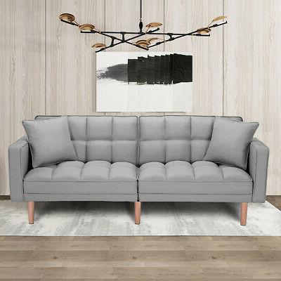 Modern Convertible Futon Sofa Bed Sleeper Loveseat Lounge Regarding Recent Ludovic Contemporary Sofas Light Gray (View 5 of 10)