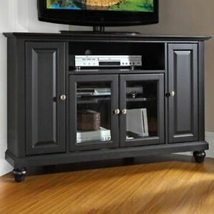 Modern Corner Tv Stand Media Entertainment Unit Solid Wood With Latest Modern 2 Glass Door Corner Tv Stands (View 7 of 10)
