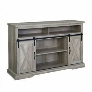 """Modern Farmhouse Style 58"""" Tv Stands With Sliding Barn Door Pertaining To Well Known 52"""" Modern Farmhouse High Boy Wood Tv Stand With Sliding (View 6 of 10)"""