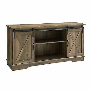 """Modern Farmhouse Style 58"""" Tv Stands With Sliding Barn Door Within Favorite Farmhouse Sliding Barn Door Tv Stand Rustic Oak Stone Grey (View 4 of 10)"""