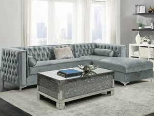Modern Glam 2 Piece Sectional Sofa With Bench Seat Intended For Well Known 2pc Crowningshield Contemporary Chaise Sofas Light Gray (View 2 of 10)