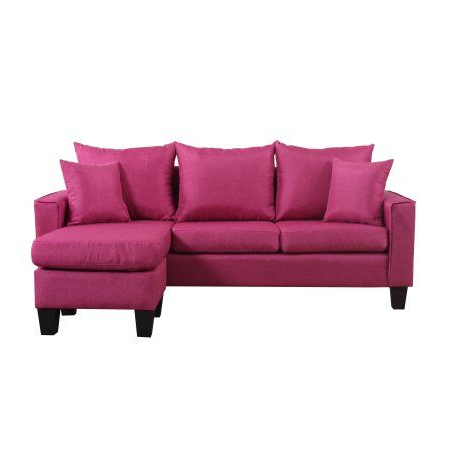 Modern Linen Fabric Small Space Sectional Sofa With For Most Current Verona Mid Century Reversible Sectional Sofas (View 8 of 10)