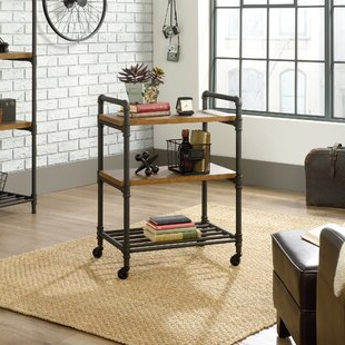 Modern Mobile Rolling Tv Stands With Metal Shelf Black Finish With Regard To Popular Black Bar Carts You'll Love In  (View 8 of 10)